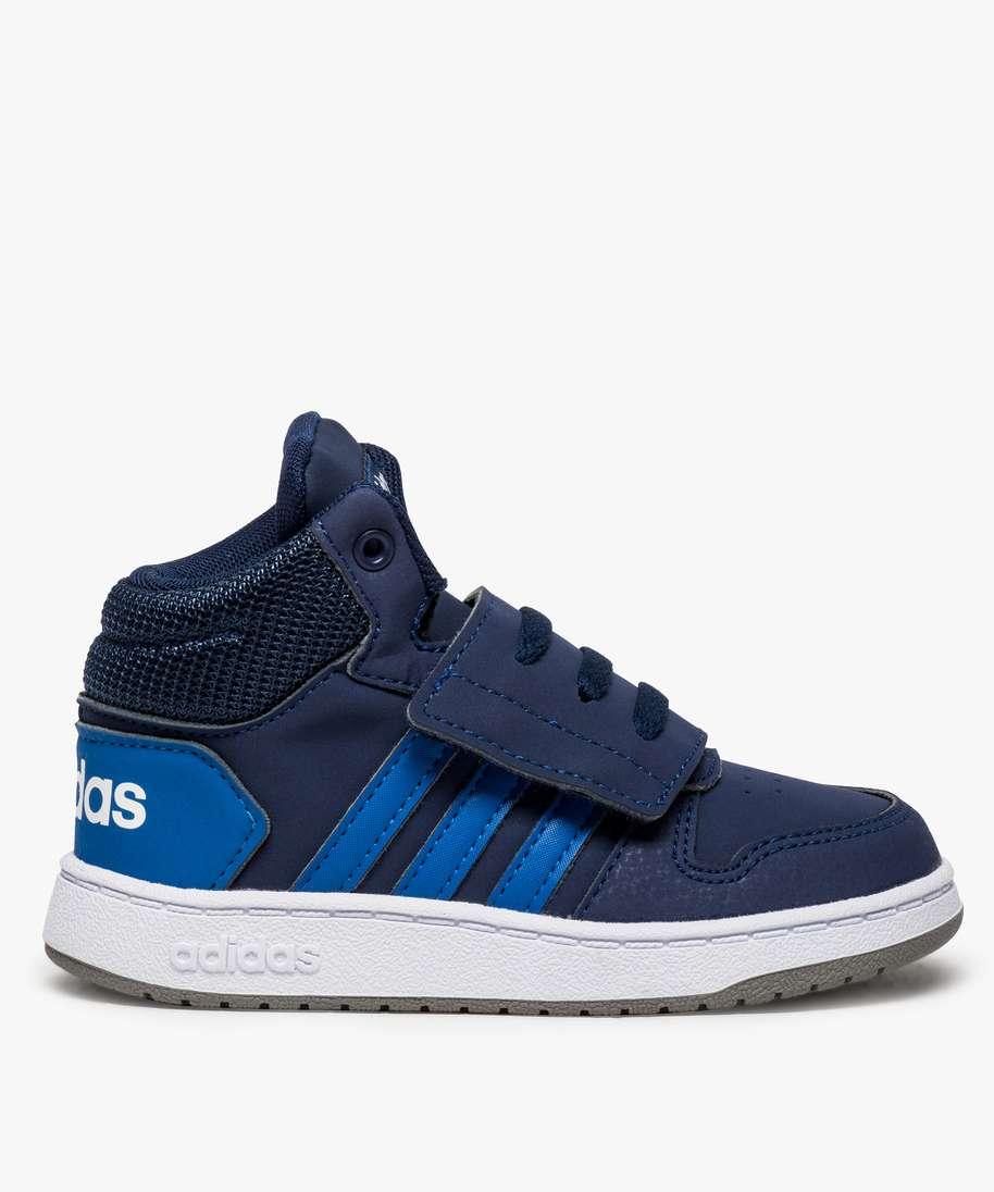 baskets garcon adidas hoops mid avec fermeture scratch bleu